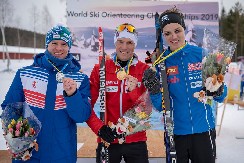 NMM-sprintti mitalisti. Sergei Mizonov, Nicola Mueller, Aapo Viippola. Kuva Paula Lehtomäki