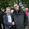 Miami Showband survivor Stephen Travers was greeted by Micky Doran of the Hilton Showband at the 40th anniversary remebrance at Buskhill Road. C1532163.