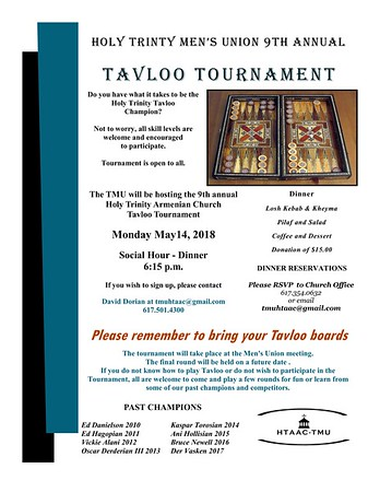 Trinity Men's Union 9th Annual Tavloo Tournament, May 14, 2018