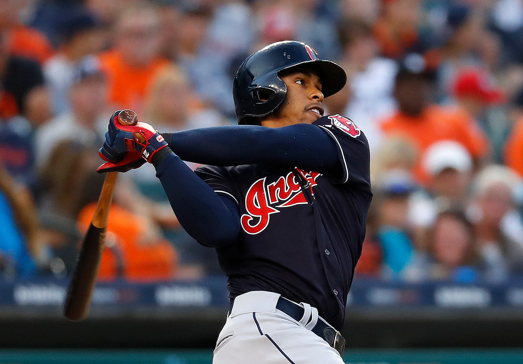 . Cleveland Indians\' Francisco Lindor hits a two-run home run against the Detroit Tigers in the fifth inning of a baseball game in Detroit, Friday, July 27, 2018. (AP Photo/Paul Sancya)