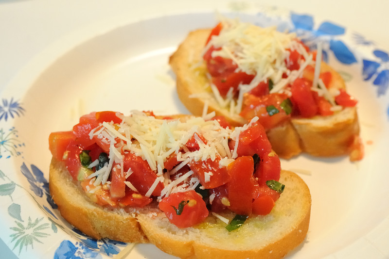 Now, on to the celebration.  Our day was very relaxed.  I made Bruschetta for lunch.  Oh, my goodness, it was delicious.  Here is the recipe.   If you have an abundance of summer tomatoes, give it a try.  I promise you won't be disappointed.