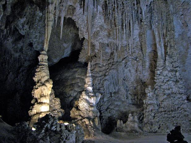 Gray and beige stalagmites and stalactites in Carlsbad National Park