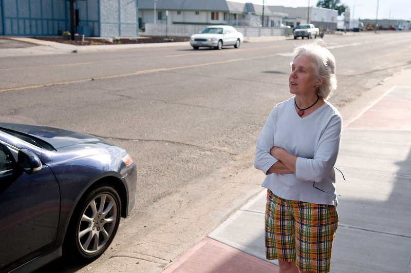 Whenever we drive West, we try ti stop at Dude's in Sidney, Nebraska, for a steak. We pulled into town on a Sunday evening this year, and the place was closed! Lyn ponders our next move on the sidewalk outside Dude's.