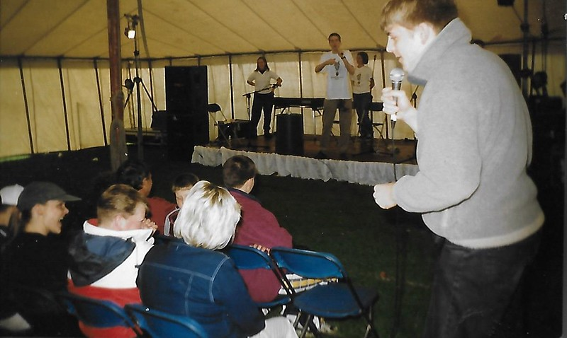 Carl interacting with the audience with Nicole Emma and Tony on stage WSGOM Fringe in the Park.jpg