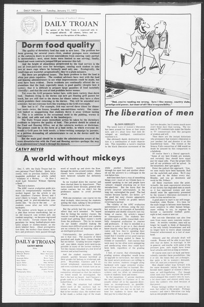 Daily Trojan, Vol. 64, No. 61, January 11, 1972