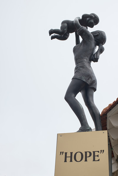 Low angle view of Hope sculpture by Nicky Imber, Safed, Northern District, Israel