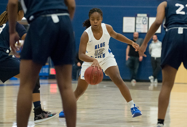 12/27/19 Wesley Bunnell | Staff Plainville girls basketball vs Amistad Academy on Friday night at Plainville High School. Kori Jones (12).