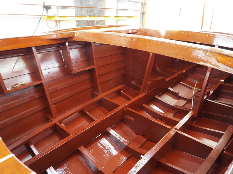 Inside of the hull looking toward the transom painted.