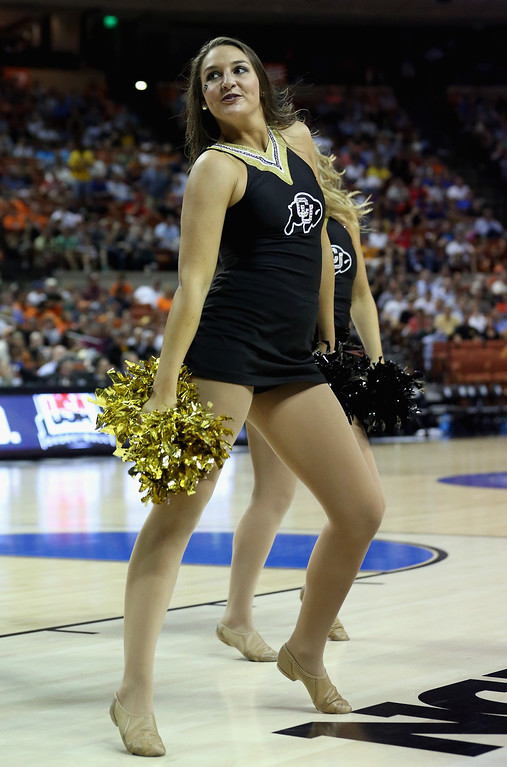 . AUSTIN, TX - MARCH 22:  A cheerleader from the Colorado Buffaloes performs during the game against the Illinois Fighting Illini during the second round of the 2013 NCAA Men\'s Basketball Tournament at The Frank Erwin Center on March 22, 2013 in Austin, Texas.  (Photo by Stephen Dunn/Getty Images)