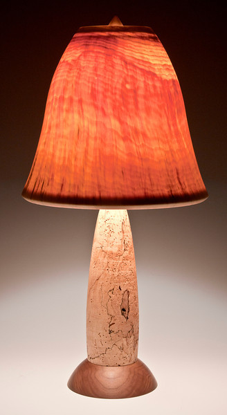 Base made from Spalted Maple and Walnut, with Bell Shade