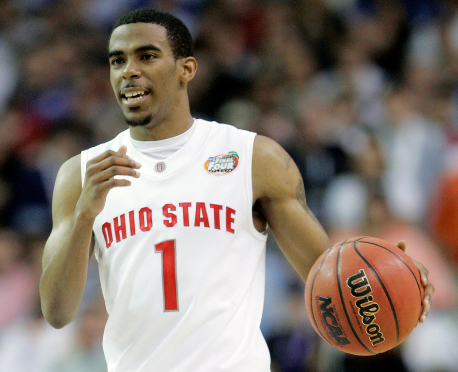 . Ohio State guard Mike Conley Jr. (1) smiles during their men\'s semifinal basketball game against Georgetown at the Final Four in the Georgia Dome in Atlanta Saturday, March 31, 2007. Ohio State won 67-60 (AP Photo/Mark Humphrey)