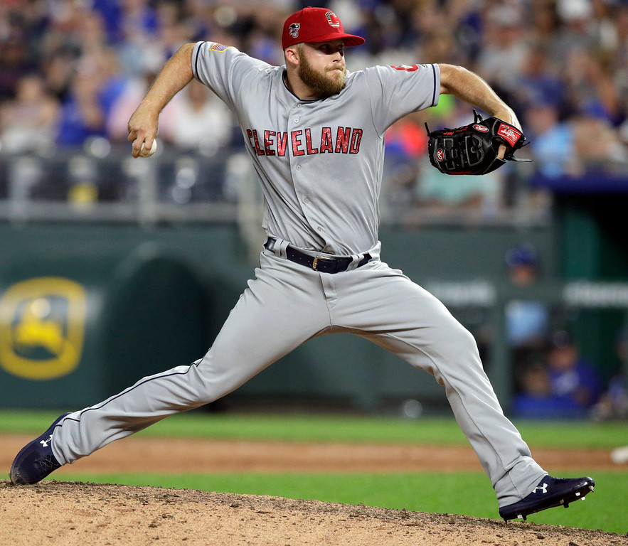 . Cleveland Indians relief pitcher Cody Allen delivers to a Kansas City Royals batter during the ninth inning of a baseball game at Kauffman Stadium in Kansas City, Mo., Wednesday, July 4, 2018. Allen received the save as the Indians defeated the Royals 3-2. (AP Photo/Orlin Wagner)