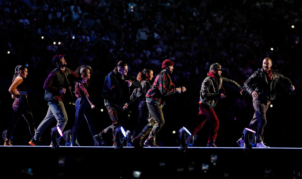 . Justin Timberlake, right, performs during halftime of the NFL Super Bowl 52 football game between the Philadelphia Eagles and the New England Patriots, Sunday, Feb. 4, 2018, in Minneapolis. (AP Photo/Charlie Neibergall)