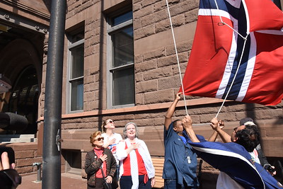 Norwegian flag raised at City Hall. 5/17/2017