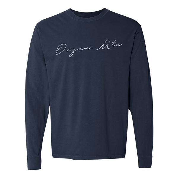 Organ Mountain Outfitters - Outdoor Apparel - Womens T-Shirt - Organ Mtn Script Long Sleeve Tee - True Navy.jpg