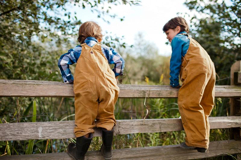 Young boys climbing a wooden fence.