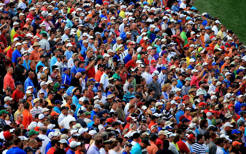 . Fans watch play on the 14th hole during the final round of the 96th PGA Championship at Valhalla Golf Club on August 10, 2014 in Louisville, Kentucky.  (Photo by David Cannon/Getty Images)