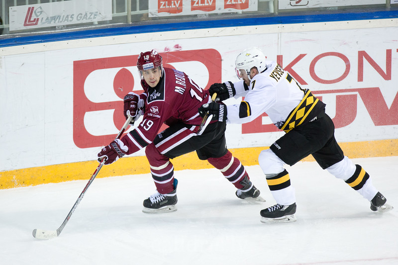 Mikelis Redlihs (19) in the KHL regular championship game between Dinamo Riga and Severstal Cherepovets, played on January 3, 2017 in Arena Riga