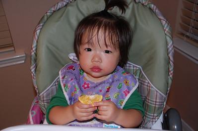December 17, 2008 - Emily really enjoying her oranges.