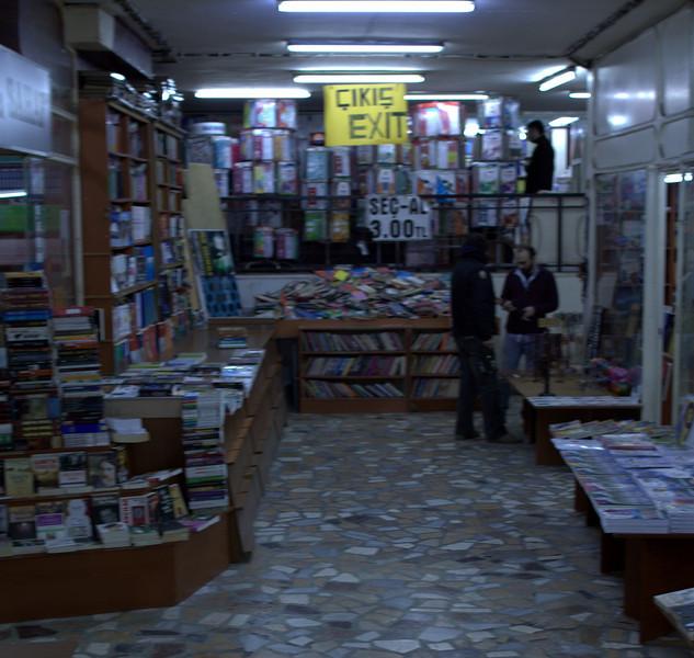 Winding through a book market. (blurry)