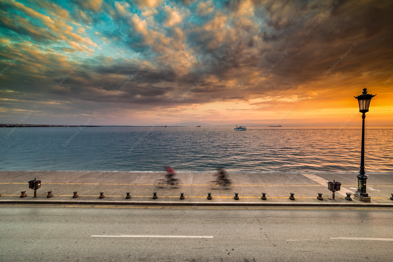 Dramatic Sky Sunset at Thessaloniki Port, Greece - Long Exposure