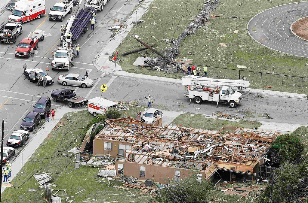 . An aerial view shows the damage after tornados swept through Hood County, Texas May 16, 2013.   REUTERS/Brandon Wade
