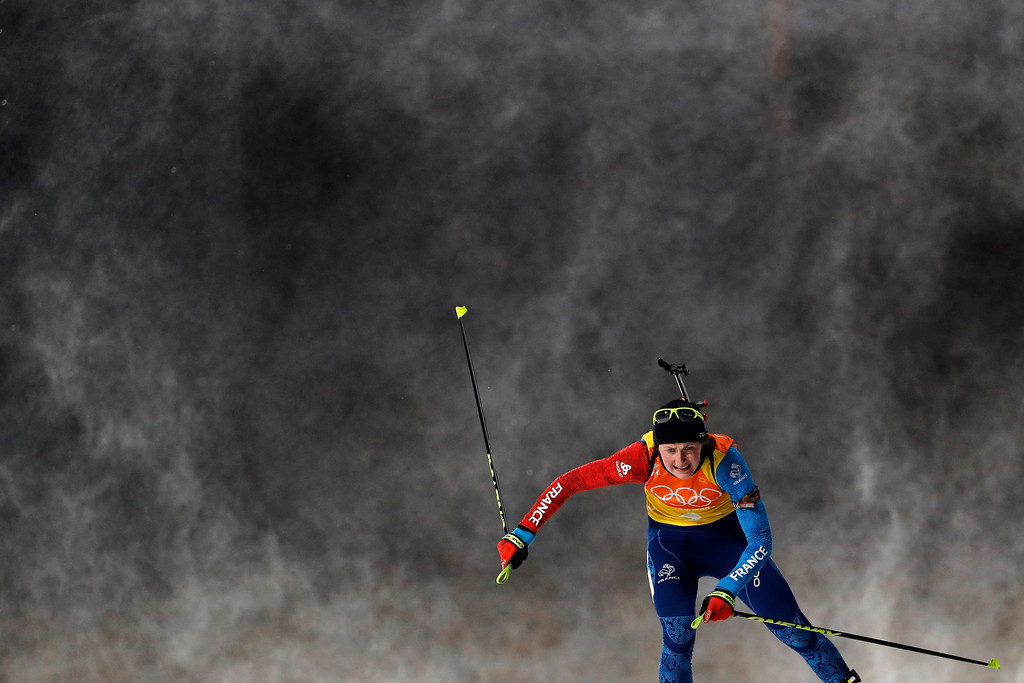 . Justine Braisaz, of France skis during the women\'s 4x6-kilometer relay biathlon at the 2018 Winter Olympics in Pyeongchang, South Korea, Thursday, Feb. 22, 2018. (AP Photo/Andy Wong)