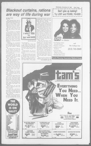 Daily Trojan, Vol. 110, No. 58, November 29, 1989