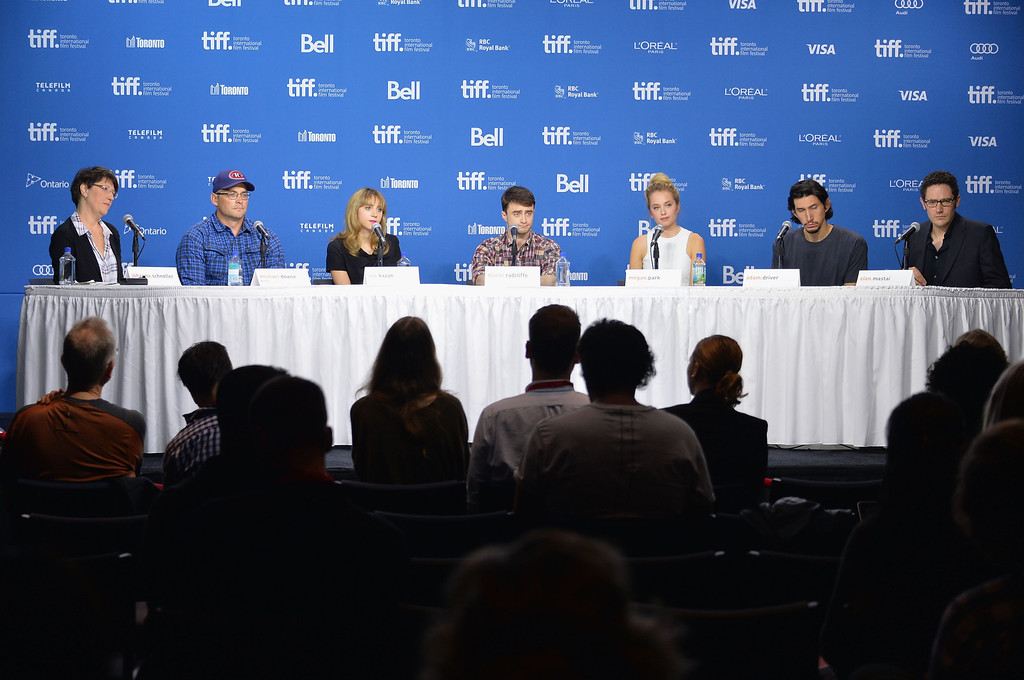 """. (L-R) Moderator Johanna Schneller, director Michael Dowse, actress Zoe Kazan, actor Daniel Radcliffe, actress Megan Park, actor Adam Driver and screenwriter Elan Mastai speak onstage at \""""The F Word\"""" Press Conference during the 2013 Toronto International Film Festival at TIFF Bell Lightbox on September 8, 2013 in Toronto, Canada.  (Photo by Alberto E. Rodriguez/Getty Images)"""