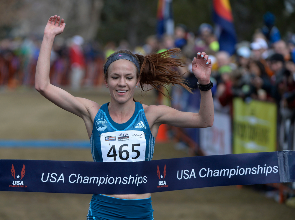 . Amy Van Alstine wins the Open Women\'s 8K USA Cross Country Championship at the Flatirons Golf Course Saturday afternoon, February 15, 2013. (Photo By Andy Cross / The Denver Post)