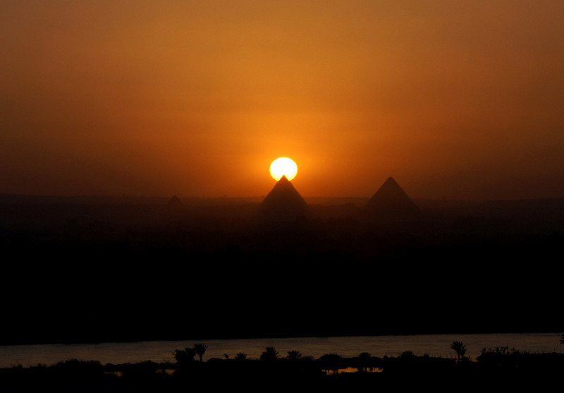 In our hostel in Cairo - great view of the pyramids at sunset