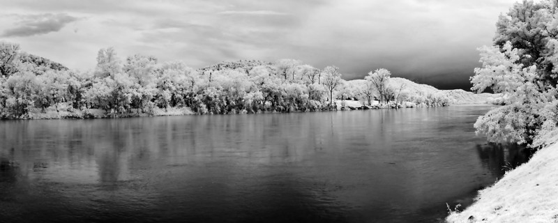 A final IR pano of the river near where we landed. You can see the storm clouds off in the distance.