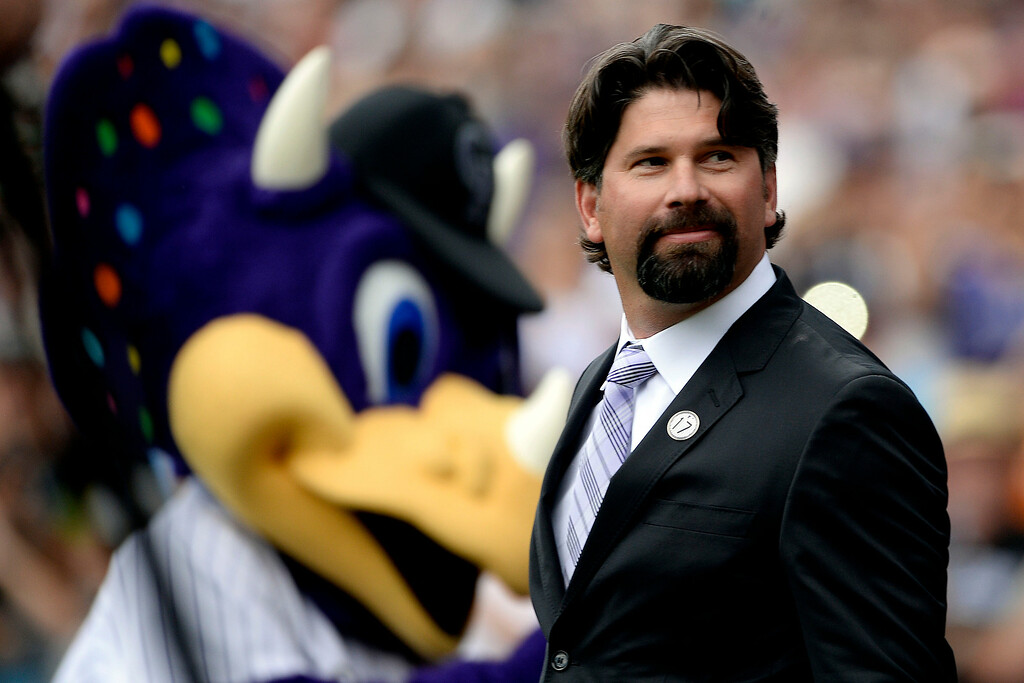 . Colorado Rockies great Todd Helton walks onto the field during a retirement ceremony for his number 17. Helton, who played 17 season with the Rockies and holds records for many of the organizations career statistics, was honored on Sunday, August 17, 2014. (Photo by AAron Ontiveroz/The Denver Post)