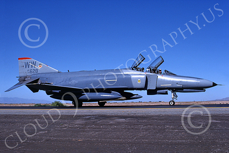 F-4USAF 00121 A taxing McDonnell Douglas F-4G Phantom II Wild Weasel USAF 74628 WW code George AFB 9-1988 military airplane picture by Michael Grove. Sr..JPG