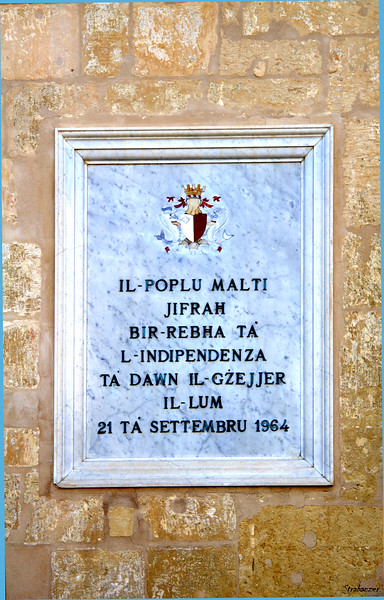 Valletta, Malta.     Plaque with an inscription stating Malta's 