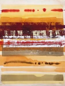 "Desert Raga 6-Leila, 50""x38"" acrylic painting with metal leaf"