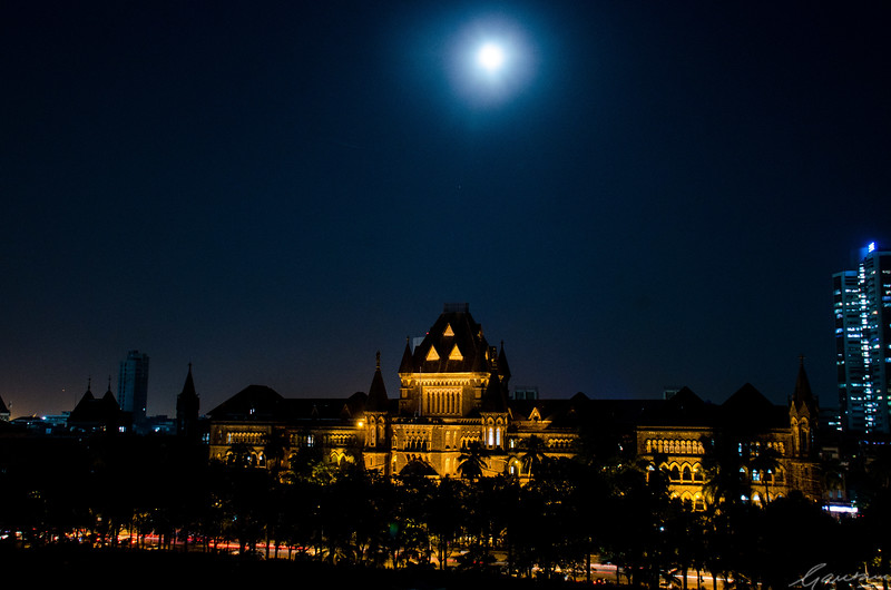 December moon over High Court, Bombay