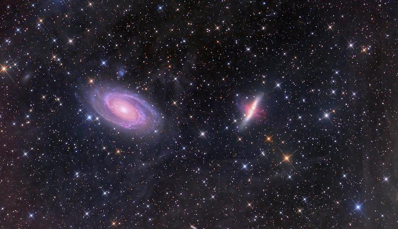 Galaxies M82, M81 both about 12million light years away!! 33X1200 sec FLI Microline 11002 OSC ASA N10 F3.59 Jan 2013 NMSkies Remote