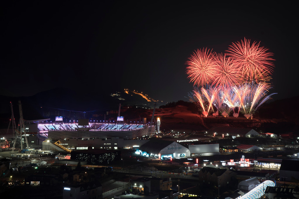 . Fireworks explode behind the Olympic Stadium during the closing ceremony of the 2018 Winter Olympics in Pyeongchang, South Korea, Sunday, Feb. 25, 2018. (AP Photo/Felipe Dana)