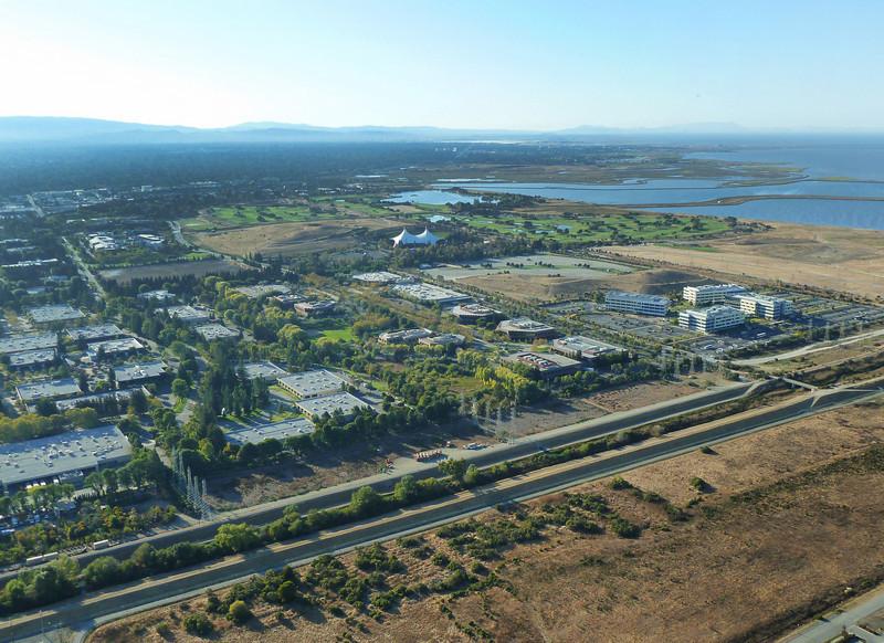 Shoreline Amphitheater complex and surrounding business park.