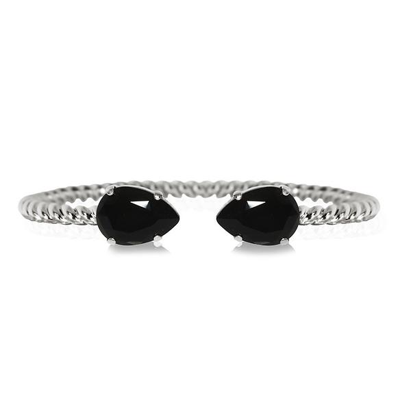 Mini Drop Bracelet / Jet Rhodium