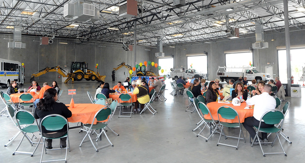 . Employees enjoy lunch during the grand opening of the state-of-the-art Public Works and Transportation Yard at the El Monte Public Works & Transportation Yard on Thursday, April 25, 2012 in El Monte, Calif.    (Keith Birmingham/Pasadena Star-News)
