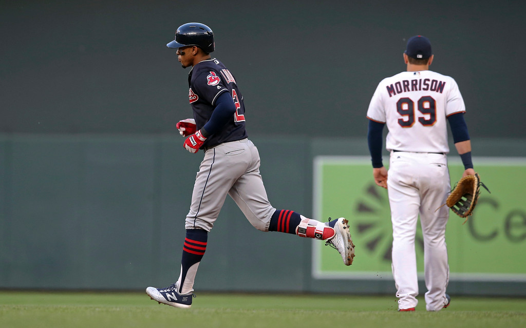 . Cleveland Indians\' Francisco Lindor rounds the bases on a three-run home run off Minnesota Twins pitcher Jake Odorizzi during the fourth inning of a baseball game Thursday, May 31, 2018, in Minneapolis. (AP Photo/Jim Mone)