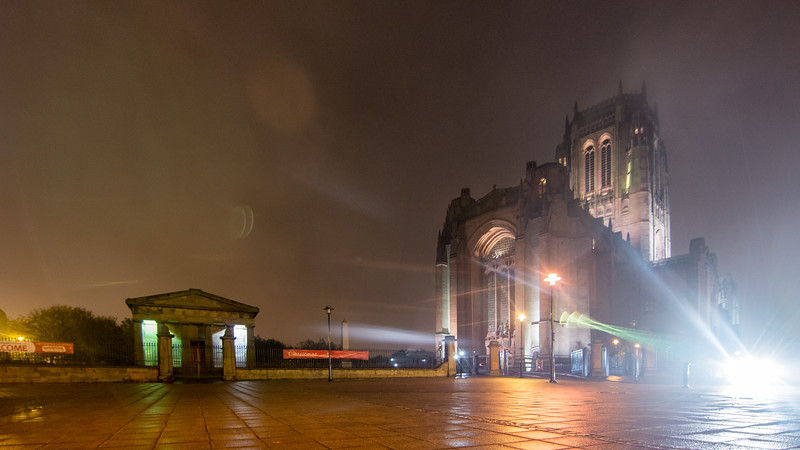 Fog shrouds Liverpool Cathdral