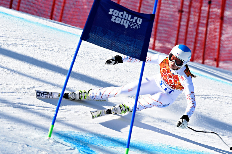 . Julia Mancuso of the USA competes during the Alpine Skiing Women\'s Super-G at the Sochi 2014 Winter Olympic Games at Rosa Khutor Alpine Centre on February 15, 2014 in Sochi, Russia. (Photo by Alain Grosclaude/Agence Zoom/Getty Images)