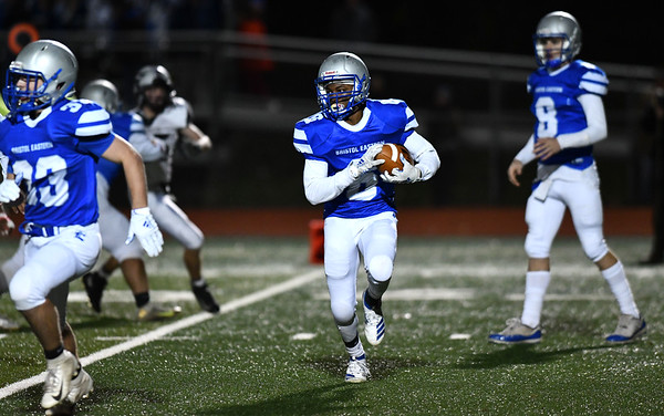 11/1/2019 Mike Orazzi | StaffrBristol Easterns, Treyvon Daniel (6) against Farmington during Friday night football in Bristol.