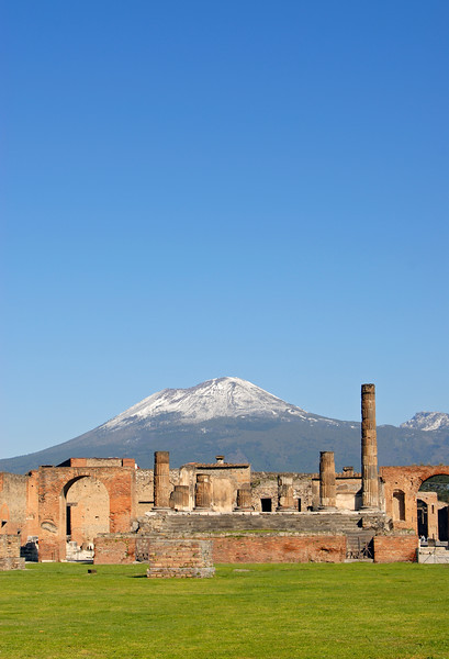 Ruins of Temple of Jupiter with Snow-Capped Mt Vesuvius Volcano in Background, Pompeii, Campania, Italy