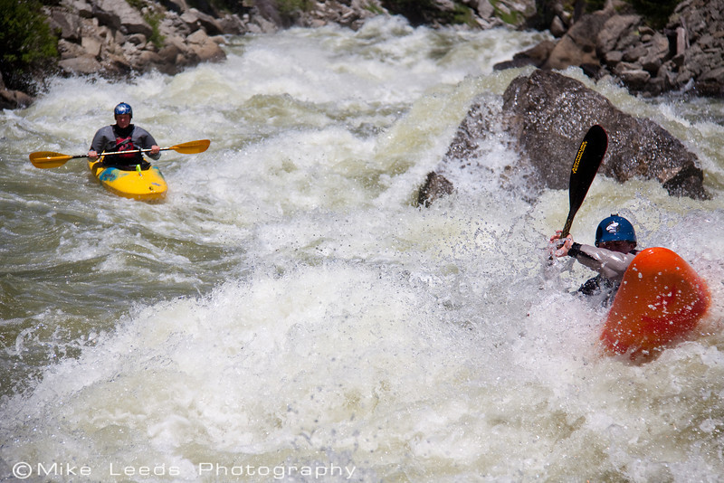 "Ian McClaren and Austin Rathman in ""Steepness"" rapid on the North Fork Payette River in Idaho. Flows appox- 4,000cfs"