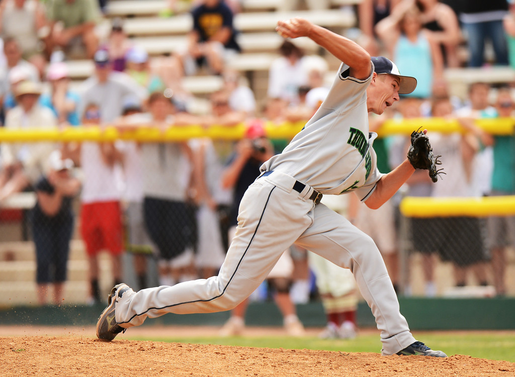 . DENVER, CO. - MAY 25: Tyler Loptien of ThunderRidge HIgh School pitch against Rocky Mountain HIgh School last inning of 5A baseball state championship game at All City Field. Denver, Colorado. May 25, 2013. ThunderRidge won 2-1. (Photo By Hyoung Chang/The Denver Post)