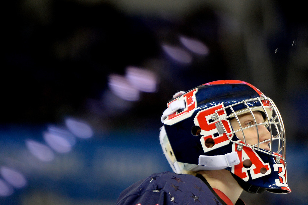 . Molly Schaus (30) of the U.S.A. takes a breather against Switzerland during the first period of action at the Shayba Arena. Sochi 2014 Winter Olympics on Monday, February 10, 2014. (Photo by AAron Ontiveroz/The Denver Post)